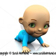 Cute cartoon baby crawling on the floor