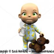 Cute cartoon baby holding a teddy bear and baby bottle