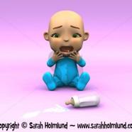 Cute cartoon baby crying over spilt milk