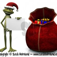 Cartoon frog wearing Santa hat and holding blank sign