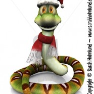 Cartoon snake wearing Santa hat and scarf