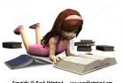 Cute cartoon girl reading book