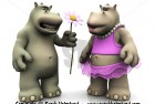 Cartoon hippo couple