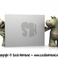 Two cartoon hippos with big blank sign