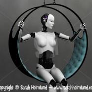 Robot woman sitting in futuristic hammock 2