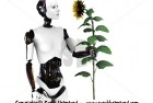Robot woman holding a sunflower