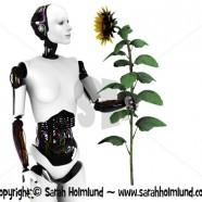 Robot woman holding a sunflower