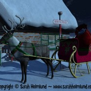 Reindeer with sleigh waiting outside Santa Claus' house
