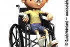 Sad cartoon boy in wheelchair