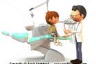 Cartoon boy visiting the dentist