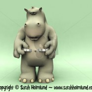 Shocked cartoon hippo measuring his waist