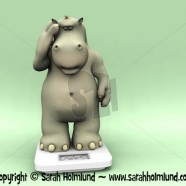 Shocked cartoon hippo on scales