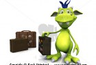 Cute cartoon monster with travel suitcase