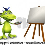 Cute cartoon monster painting
