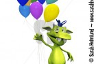 Cute cartoon monster holding balloons