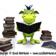 Cute cartoon monster reading a book