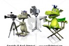 Cute cartoon monsters filming