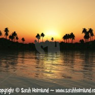Tropical lagoon at sunset