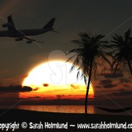 Airplane flying over tropical beach at sunset
