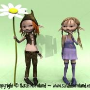 Cartoon boy and girl with big flower