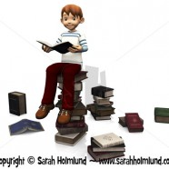 Cute cartoon boy sitting on a pile of books