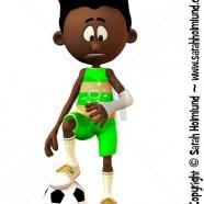 Sad black cartoon boy with broken arm