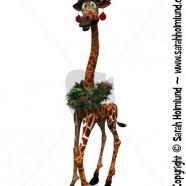 Cartoon giraffe wearing Santa hat and other Christmas decorations