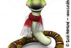 Cartoon snake wearing Santa hat and scarf