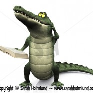 Cartoon crocodile reading book and scratching his head