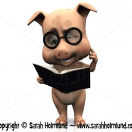 Cute confused cartoon pig holding a book