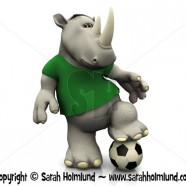 Cartoon rhino posing with soccer ball