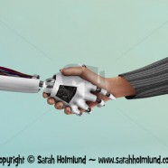 Robot shaking hand with human