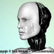 The face of a robot man