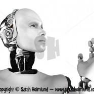 Male robot head in profile