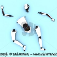 Parts of a female robot on the floor