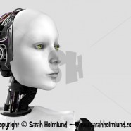 The face of a robot woman 1