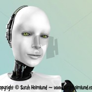 The face of a robot woman 3