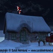 Santa Claus on the roof, ready to go down the chimney