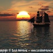 Ship out at sea at sunset