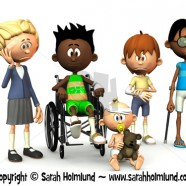 Five injured cartoon kids