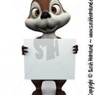 Squirrel holding blank sign