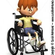 Sad cartoon boy in wheelchair