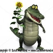 Cartoon crocodile holding sunflower