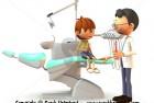 Scared cartoon boy visiting the dentist