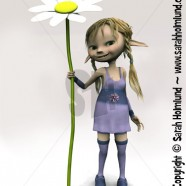 Cute cartoon girl holding big flower