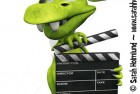 Cute cartoon monster holding a film clapboard