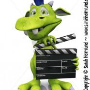 Cute cartoon monster holding a film clapboard