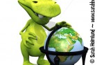 Cute cartoon monster with terrestrial globe
