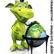 Cute cartoon monster with terrestrial globe