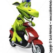 Cute cartoon monster on a scooter